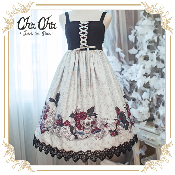 NyaNya*Love and Death *Printed Lolita High-Waisted Splicing Jumper skirt
