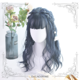 ★Kiyi★45cm + Black and blue short curly air fringe lolita wig