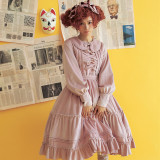 **Miss pearl*Vintage Long Sleeve Velvet Lolita OP Dress