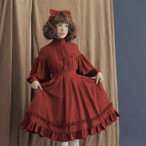 **Stand collar*Chiffon Long Sleeve Lolita OP Dress