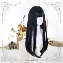 ★JaneNye★65cm+Black long straight lolita wig