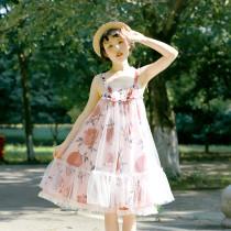 **Pink pomegranate flower*High Waist Lilita Jumper Skirt Version Ⅰ