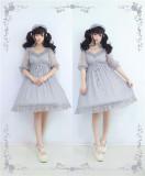 To Alice*Fruit badge elegant star lace drawstring lolita jumper skirt