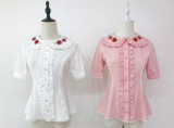 Little Dipper*Small strawberries*Lovely embroidered short-sleeve shirt