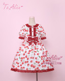 To Alice*Cherry print organza lolita op/jsk dress