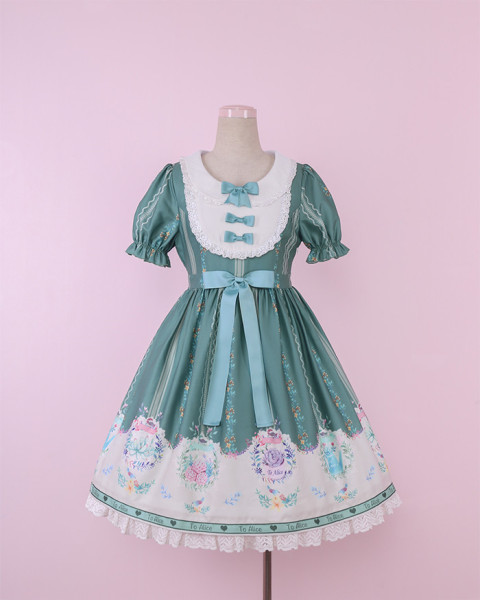 To Alice*Succulent plant print lolita dress
