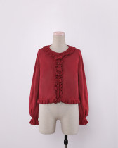 To Alice*Fat Qiu  and cherry bow falbala short  joker Sweater