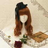 L*Night whisper*Black gothic style mini hat