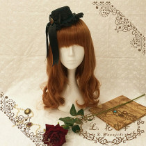 L*Night whisper*Black gothic style mini hat