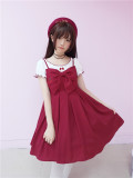 To Alice*Large bow cherry embroidery lolita slip dress