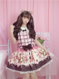 To Alice*Bear lovers Preppy  style cute print lolita jumper skirt