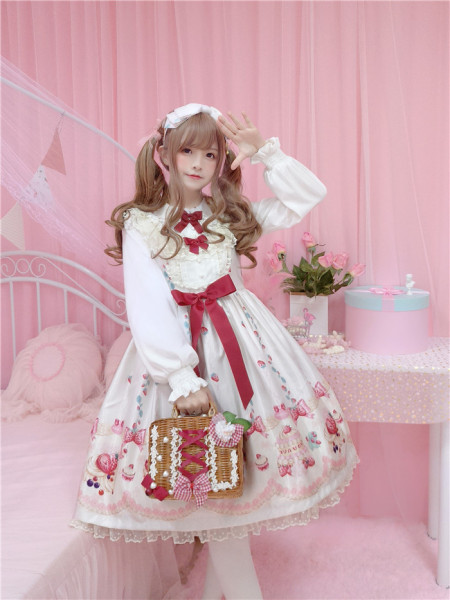 To Alice*Strawberry cake print lovely lolita jumper skirt