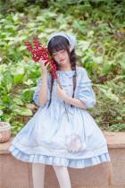 To Alice*Garlands rabbit embroidered lantern sleeve lolita doll skirt