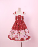 To Alice*Strawberry headgear rabbit and bear prints lolita jumper skirt
