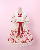 To Alice*Strawberry headgear rabbit and bear prints lolita op dress