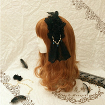 L*Seven deadly SINS*Gothic headbow/hairclip with feather