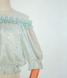 The Stars Off Shoulder Stars Silver Stamping Chiffon Lolita inner Blouse/Shirt