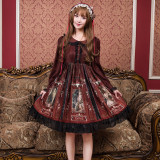 Vintage Castle*Print Long Sleeve Lolita OP Dress