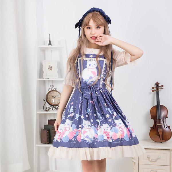 Woolen Yarn Cat*Print Sweet Lolita Jsk Dress