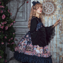 Flower Wall Rendezvous Printing High Waist Lolita Jsk Dress