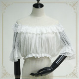 Off Shoulder Hollow Lace Short Sleeves Chiffon Puffy Sleeves Lolita inner Blouse/Shirt