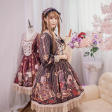 The traveler*Printing Sweet Lolita OP Dress