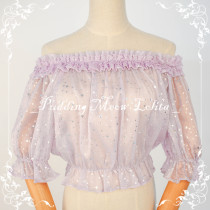 The Stars Off Shoulder Stars Silver Stamping Chiffon Lolita inner Blouse/Shirt