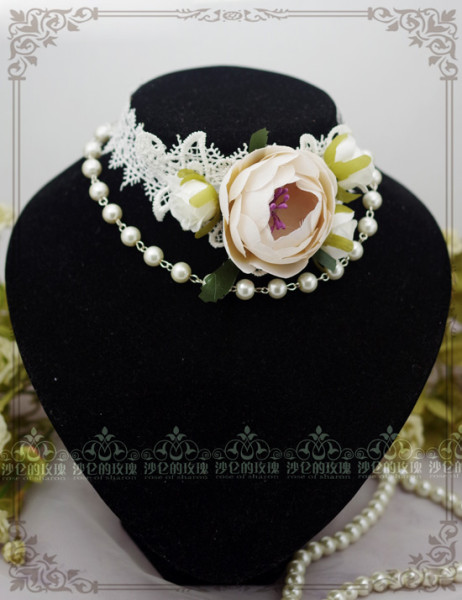 Camellia Opened Pearl Lace Lolita Necklace/Cholker