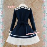 Strawberry Witch~Custom Size Available Navy Style Woolen Coat With Cape