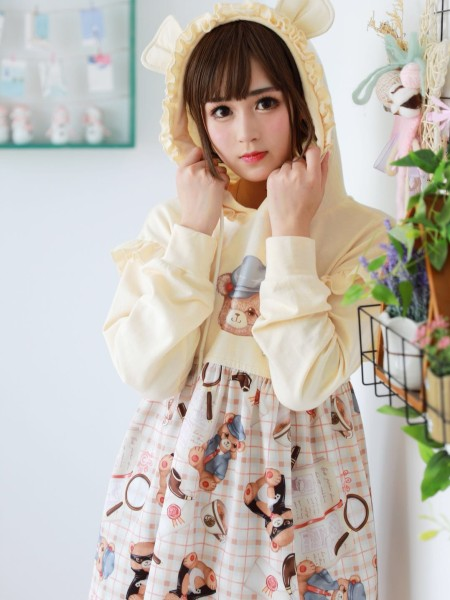 Detective Bear Cute Girl Daily Dress with Hoodie