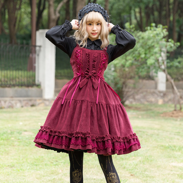 Thickening corduroy Lolita Jsk dress+cape for Winter
