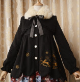 Lovely Embroidery Wool  Coat With Fur Collars