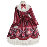 Alice girl~Caged dream Printing Long Sleeve Lolita OP Dress