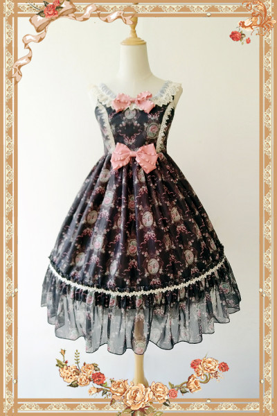 Wallpaper flower~Printing Daily Sweet Lolita JSK Dress