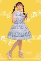 Wonderland quartet~Printing Sweet Lolita Jsk Dress