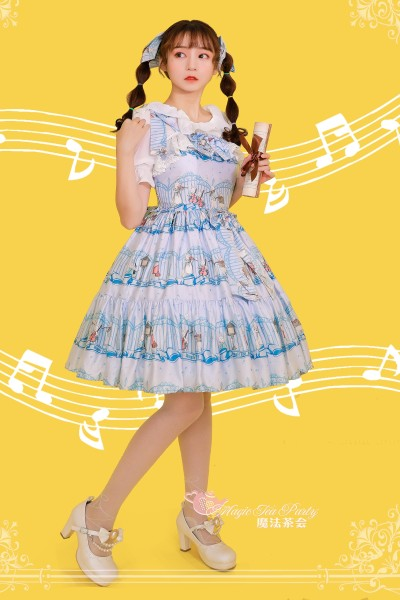 Wonderland quartet~Printing Sweet Lolita Jsk Dress