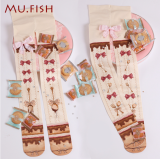 【MuFish】Spoon Chocolate Cream Print Velvet Lolita Tights
