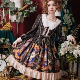 The heart of a mech~Printing Daily Lolita OP Dress/Long Sleeves