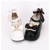 【 Angelic imprint】Decorated with bow and  pearls Lolita shoe