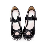 【 Angelic imprint】Striped cat embroidery Lolita Shoe