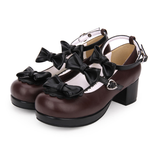 【 Angelic imprint】Low - heeled round head lace bow Lolita Shoe