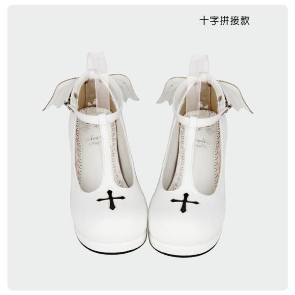 【 Angelic imprint】Cross devil angel wings Lolita shoe
