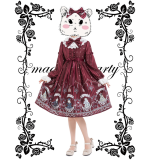 Rose knight~Printing Daily Lolita Dress With Long Sleeve