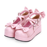 【 Angelic imprint】Decorated bow and lace Lolita shoe