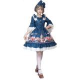 Handmade girl's hat shop~Printing Daily Lolita Dress With Long Sleeve