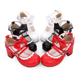 【 Angelic imprint】Round head with middle bow buckle Lolita Shoe