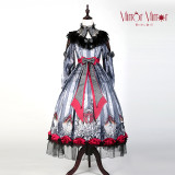 Mirror Mirror~Black Lolita OP dress Whith Long Sleeve