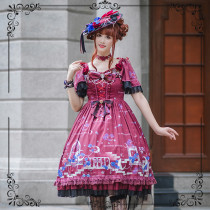 Blue Enchantress~Printed Lolita OP Dress with Fly sleeve
