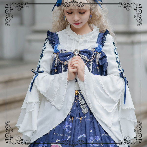 Blue Enchantress~Lolita Blouse with Hime Sleeve