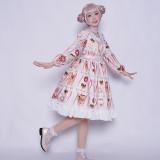 pocky~Print Sweet Lolita OP Dress with Long Sleeve